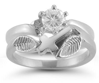 Christian Cross White Topaz Bridal Wedding Ring Set In Sterling S