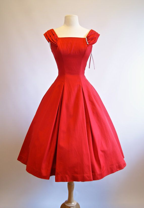 Vintage 1950s Red Fully Skirt Party Dress 50's by xtabayvintage TOP PARTY…