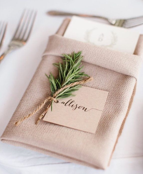 Simple Modern Calligraphy Style, Place Cards, Escort Cards, white, kraft, Calligraphy Wedding Place Cards, flat place card