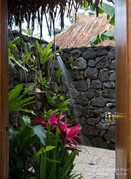 stone shower enclosure, tropical vibe