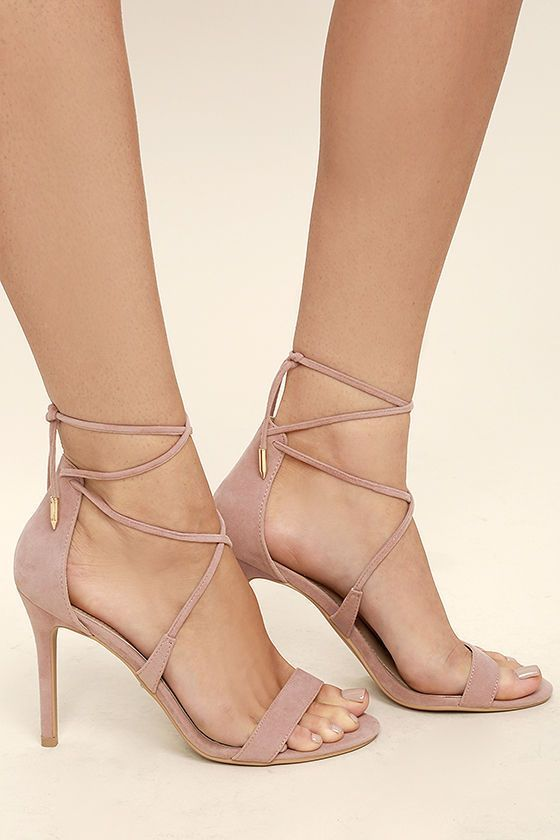 Top off your LBD with a choker and the Aimee Dusty Rose Suede Lace-Up Heels! These sexy single sole heels, made from vegan suede, have a peep-toe upper, strappy vamp, and long laces with gold aglets that tie around the ankle.