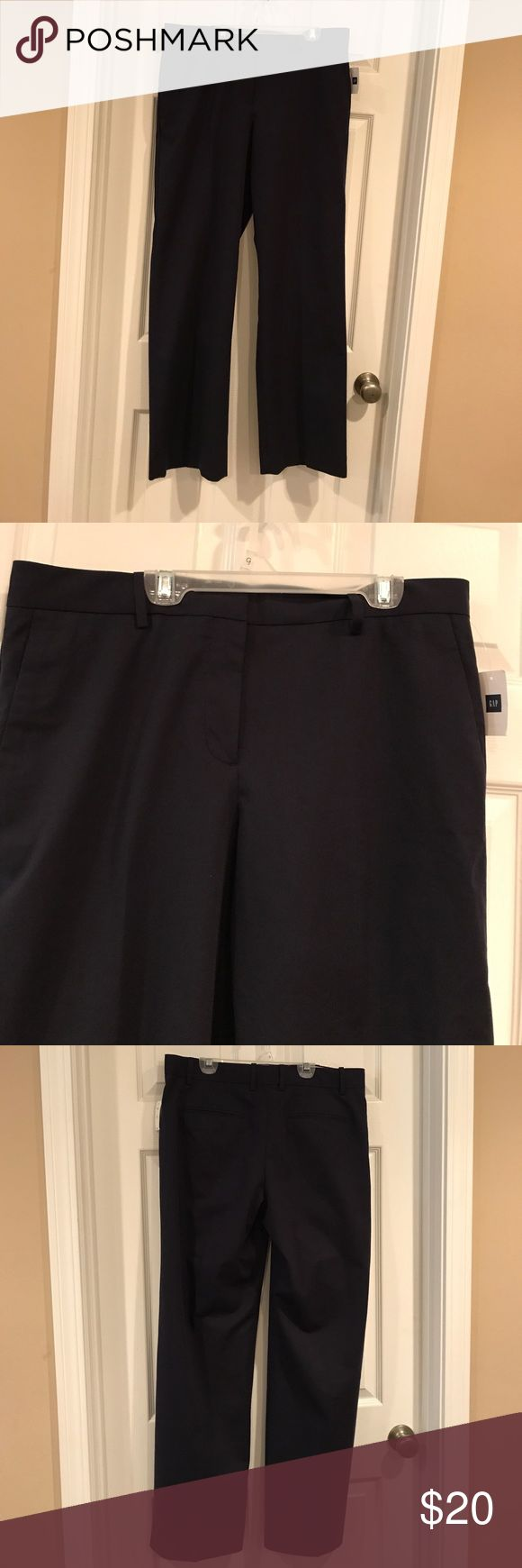 NWT Gap Navy Blue Dress Pants Trousers Sz 12 NWT Gap Navy Blue Dress Pants Trousers Sz 12. Side slit front pockets, zippered front. Measures 18 inches across waist, rise is 11 inches and length is 31 inches. Material is Cotton/ wool blend. GAP Pants Trousers