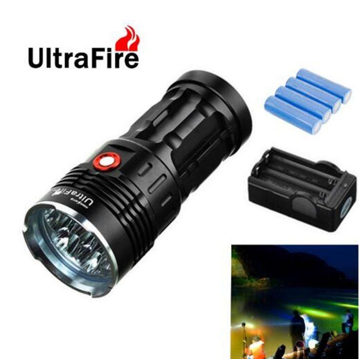 "Ultrafire XML-T6 ""9500LM"" 7-LED 3 Modes Super Bright White Flashlight Torch Black"