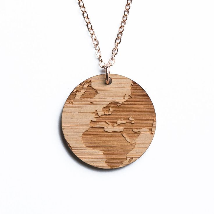 Africa and Europe map necklace, etched into eco-friendly FSC certified bamboo (using a laser burner), on a recycled rose gold plated sterling silver chain.