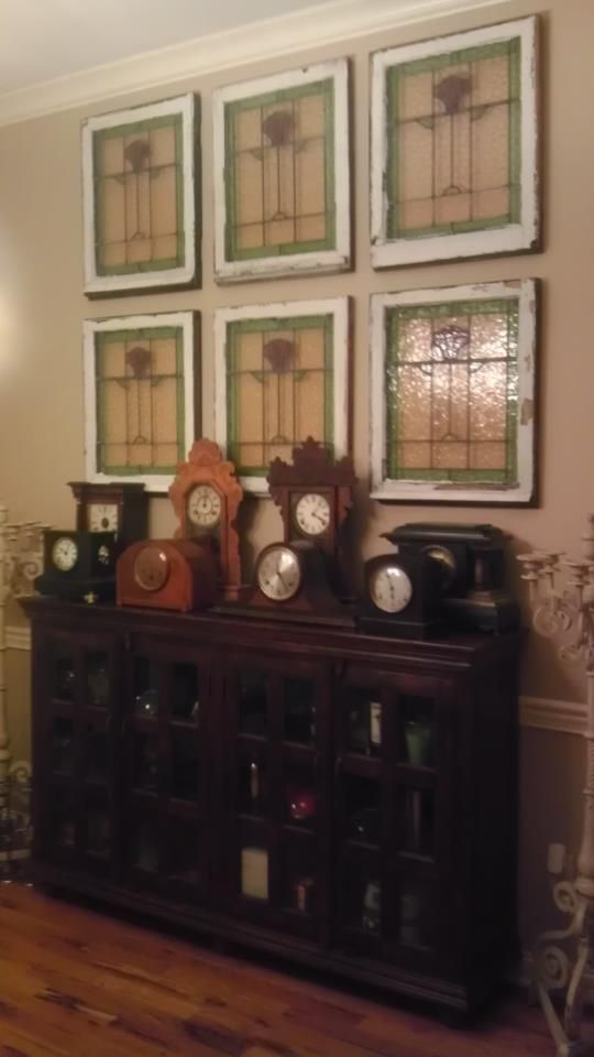 Photo from customer Christopher -- some of our antique stained glass windows repurposed as wall art!