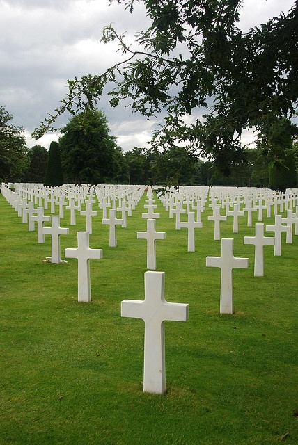 Crosses as far as the eye can see, American Military Cemetery at Colleville-sur-Mer, Normandy, France by caspermoller, via Flickr