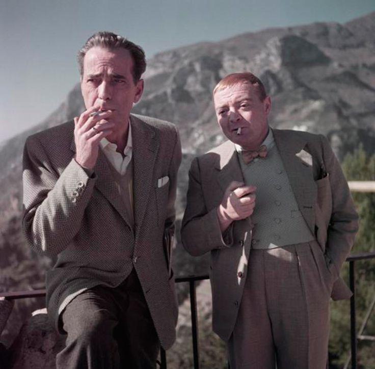 """Humphrey Bogart et Peter Lorre sur le plateau du film """" Plus fort que le diable Ravello"""" - Italie - avril 1953 / Copyright By Cornell Capa / Magnum Photos"""