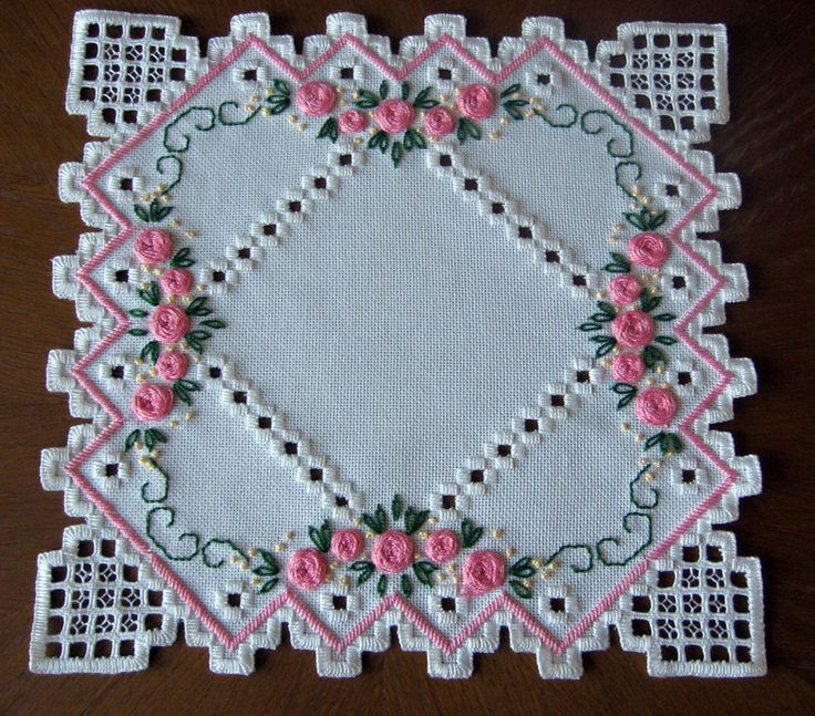 Doily in Hardanger and colored embroidery *variant 2* 100%handmade & New