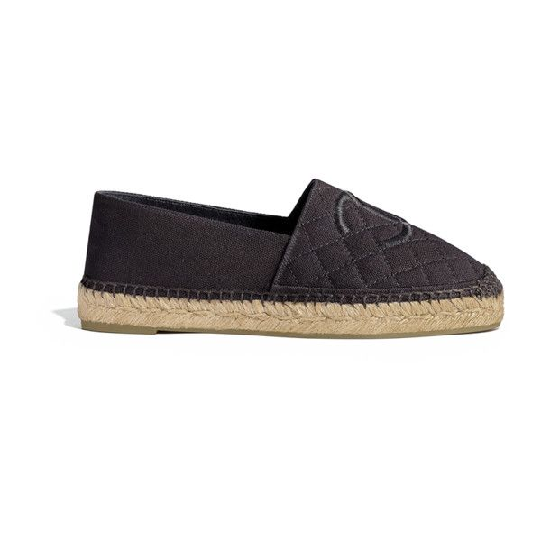 black Chanel ❤ liked on Polyvore featuring shoes, chanel shoes, chanel footwear, chanel, chanel espadrilles and black espadrilles