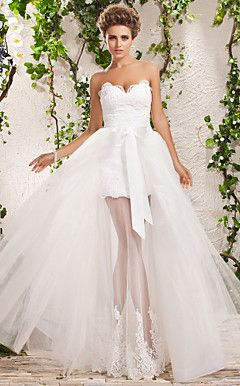 Two-In-One A-line Princess Sweetheart Floor-length Tulle Wed... – USD $ 347.99  Wow, very different