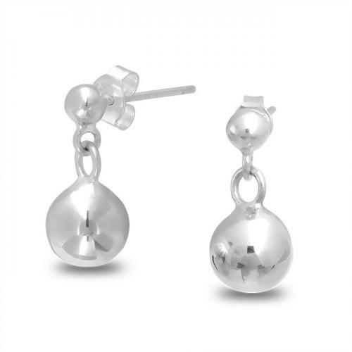 925 Sterling Silver Double Bead Ball Dangle Earrings
