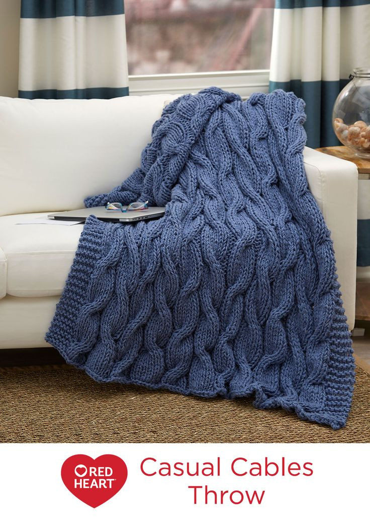 Knit Afghan Patterns Using Bulky Yarn : Casual Cables Throw Free Knitting Pattern in Red Heart Yarns -- The bulky wei...