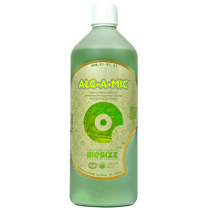 BioBizz Alg-A-Mic:  BioBizz Alg-A-Mic is an all organic additive, stimulant, and vitality booster for plants that utilises the many benefits of cold-pressed seaweed concentrate. The high-quality seaweed formula contains a healthy mix of micronutrients (including magnesium and calcium), vitamins, amino acids, and beneficial hormones derived from vegetables.