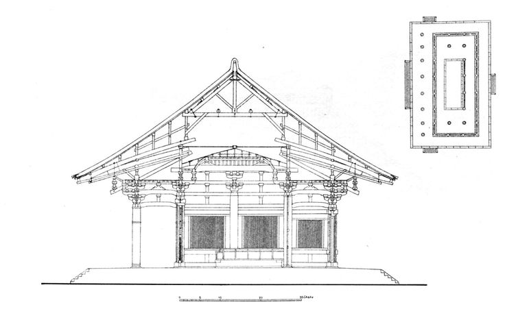 Section and plan of the Golden Hall of the Toshodai-ji, Nara