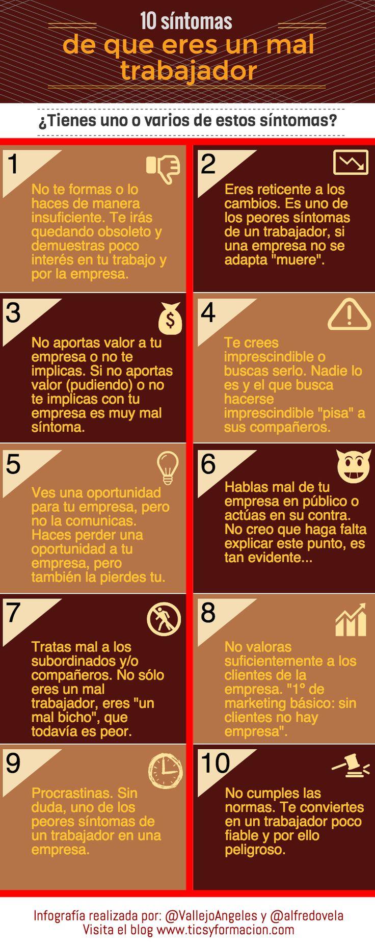 10 síntomas de que eres un mal trabajador. #infografia. Si quieres saber mucho más sobre marketing sostenible visita www.solerplanet.com