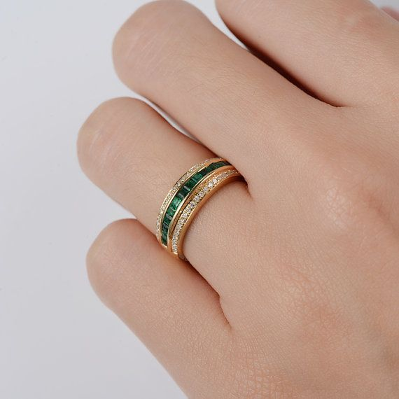 Emerald Wedding Band Yellow Gold Diamond Ring For Men Half Etsy In 2020 Mens Emerald Rings Emerald Wedding Band Eternity Ring Diamond