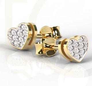 Kolczyki w kształcie serca z żółtego złota z brylantami/ Heart-shaped earrings made from yellow gold with a diamonds / 1057 PLN #gold #jewelry #diamonds #earrings #jewellery