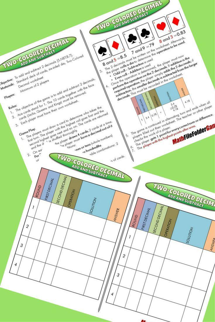 5th Grade File Folder Math Games Math Games Math Adding Decimals [ 1102 x 735 Pixel ]