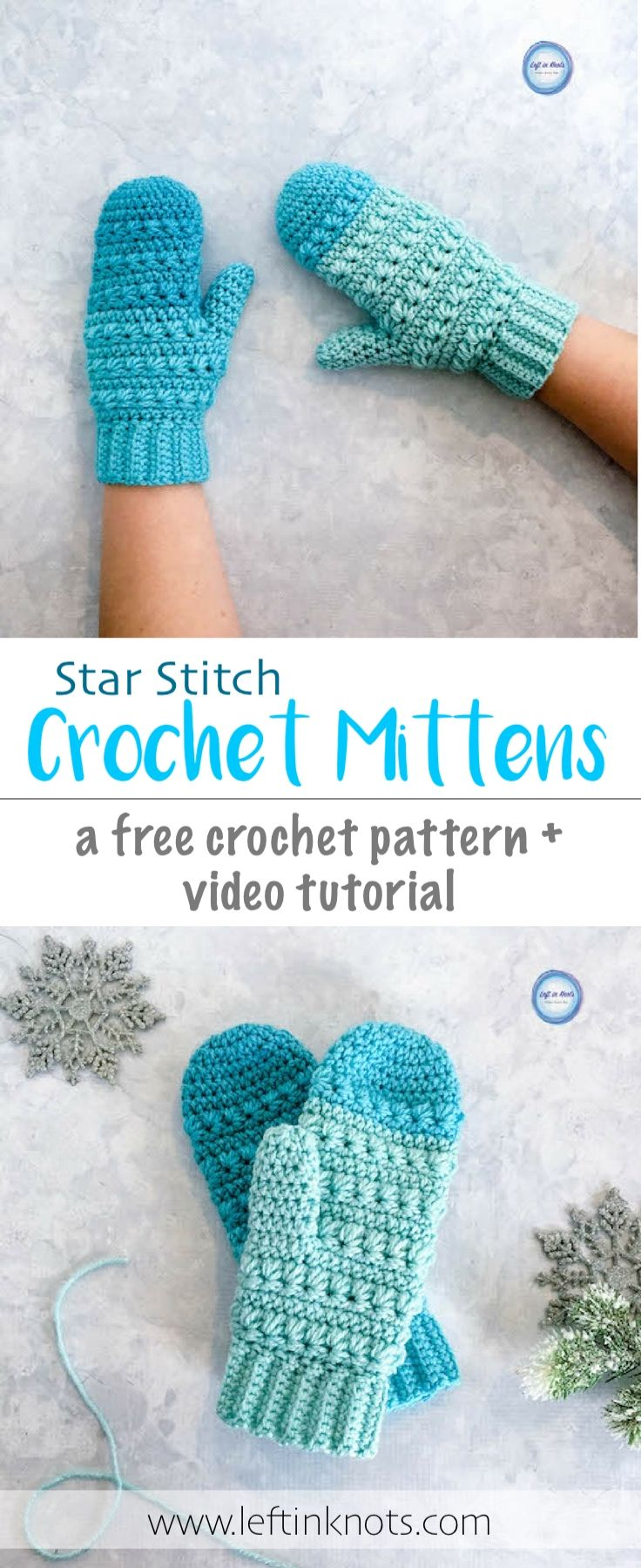 This free crochet pattern uses the star stitch to create beautiful crocheted mittens! The Snow Drops mittens are part of a free pattern set including a free slouch hat and a modern triangle scarf pattern too. Make them with Caron Cakes or your favorite worsted weight yarn. #crochet #freecrochetpattern #mittens