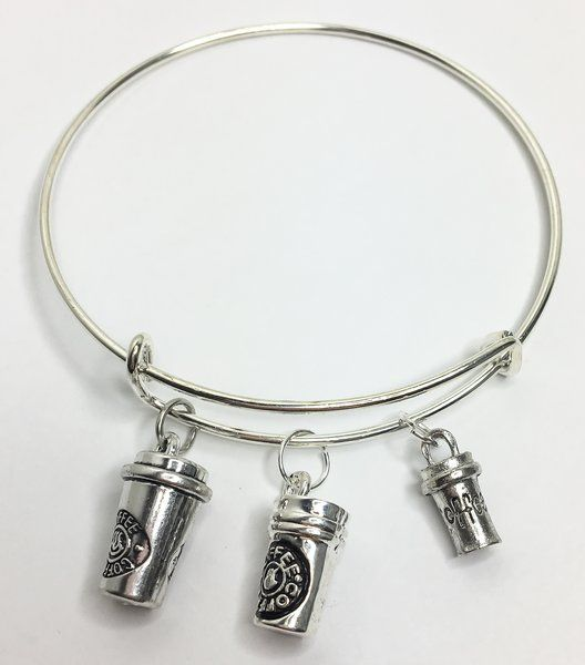 12.99$ Coffee Lover's Expandable Bangle Charm Bracelet