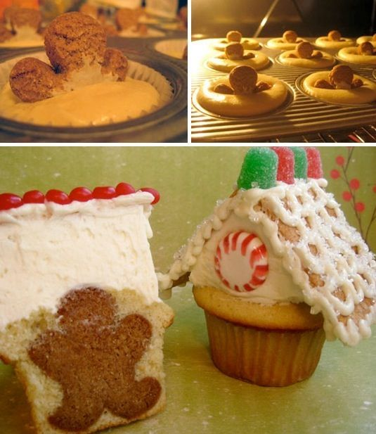 Gingerbread Man Cupcakes  Well, I suppose if you can stuff cake inside of a cake, you can put a cookie in there, too! I love the idea of usi...
