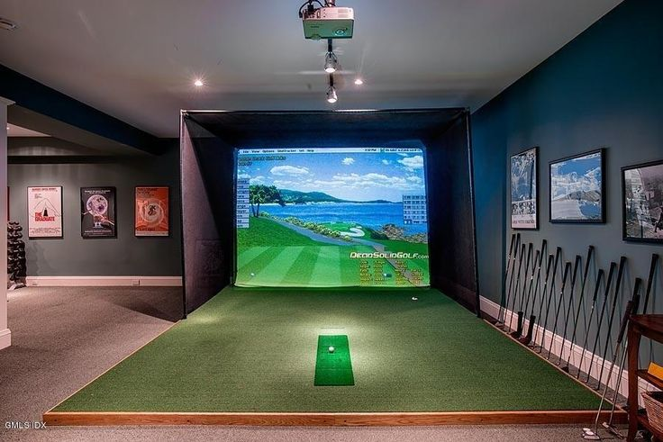 Traditional Man Cave with Home Golf Simulator, Golf Simulators: Buyer's Guide, Carpet, flush light, Exposed beam