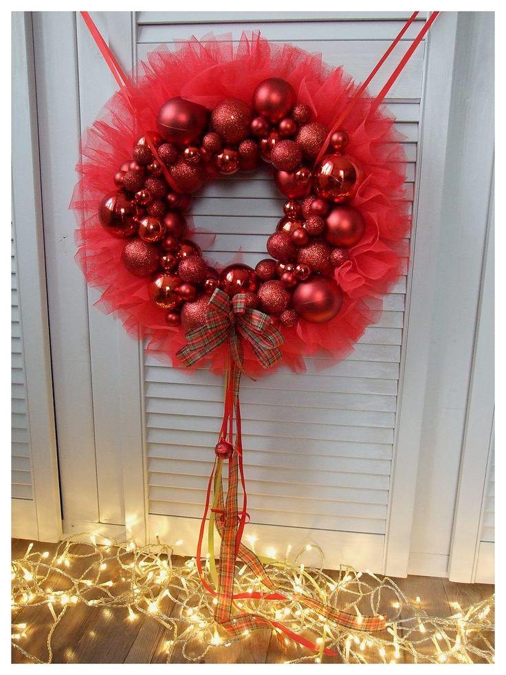 Tiul w czerwonej odsłonie - bomb(k)owy :) Wianek na drzwi