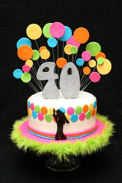 disco birthday cake -- love it, could easily be made into a mamma mia cake