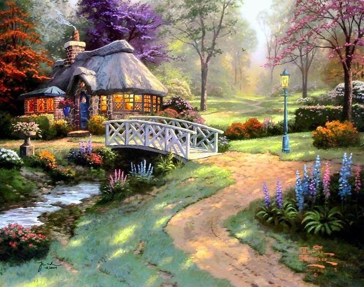 Thomas Kinkade Cottage Paintings | Thomas Kinkade Paintings - Thomas Kinkade Friendship Cottage Painting