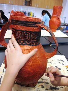 Papier mache Greek vases
