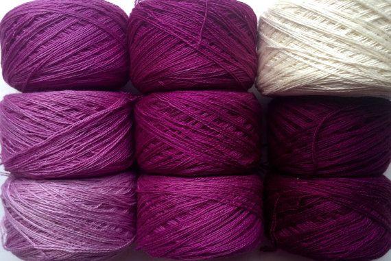 Gradient-Garn-Set  Kaschmir / Maulbeere Seiden Handdyed von YarnLux