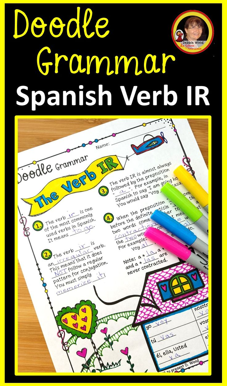 Ir A Infinitive Spanish Verbs Doodle Notes Learn Another Language [ 1251 x 736 Pixel ]