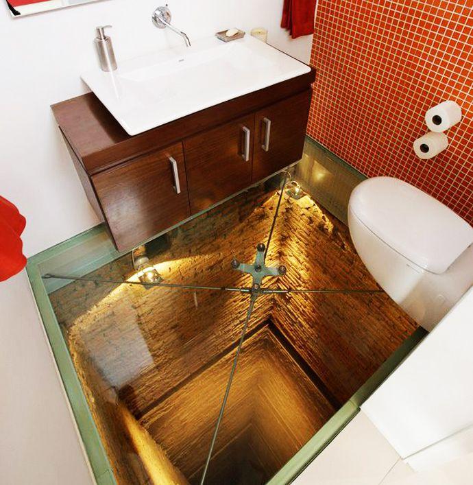 CRAZINESS!!  Bathroom with Transparent Glass Floor.