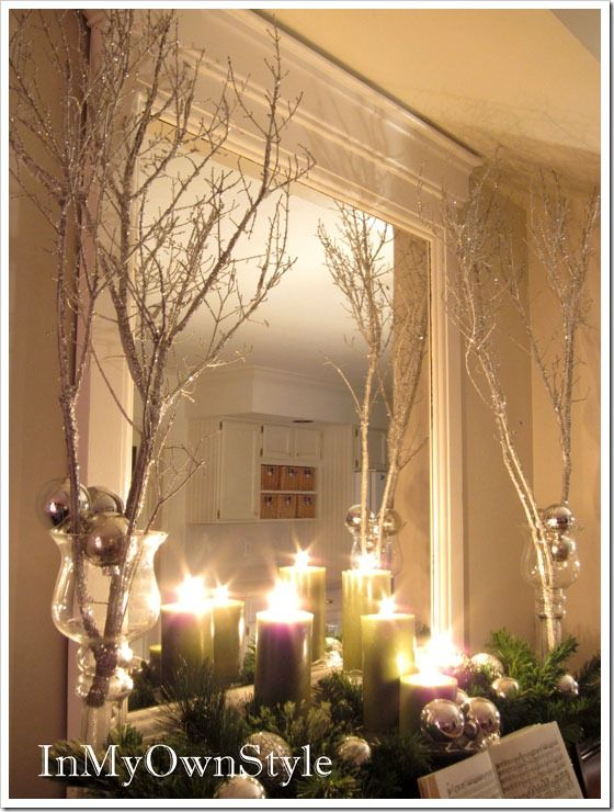 spray-painted tree branches, beautiful for christmas, but I think it works year-round (minus the ornaments)