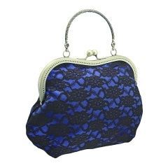 837Handbag in Glamour, Formal or Vintage style, purse bag, Evening Frame clutch bag, Party bag, Womens clutch bag, bag has handleclutch bag has Handle, Handbag in Evening or Bohemian style, Handcrafted Handbag made from fabric has padding is added inside the fabric layers to keep its shape, bag finished off frame has metallic kiss closure and handle, handbag for womenshandbag, evening clutch of satin & lace for women, blue & black 1060