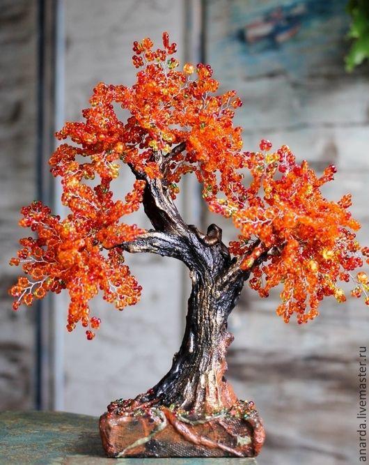 Деревья ручной работы. Заказать Осеннее. Яна. Ярмарка Мастеров. Осень, бисерный бонсай, гипс