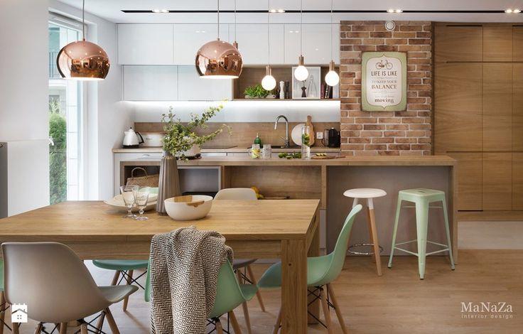 apartament nad Wisłą w Krakowie - Mała otwarta kuchnia jednorzędowa w aneksie z wyspą, styl skandynawski - zdjęcie od MaNaZa