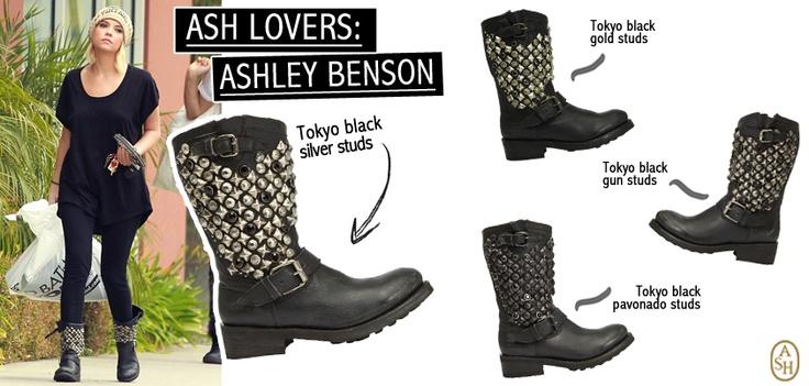 L'attrice di Pretty Little Liars, Ashley Benson, si rivela una Ash addicted indossando i mexican boots Tokyo tempestati di borchie e impreziositi da swarovski.  Quale variante preferisci?  #ashitalia