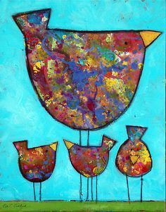 Lets do something with this style of bird-maybe lots of different ones on squares; watercolour background?  Maybe collage-there are a few other pins on here linked to this so look out for the ones which say 'This Style of bird'.
