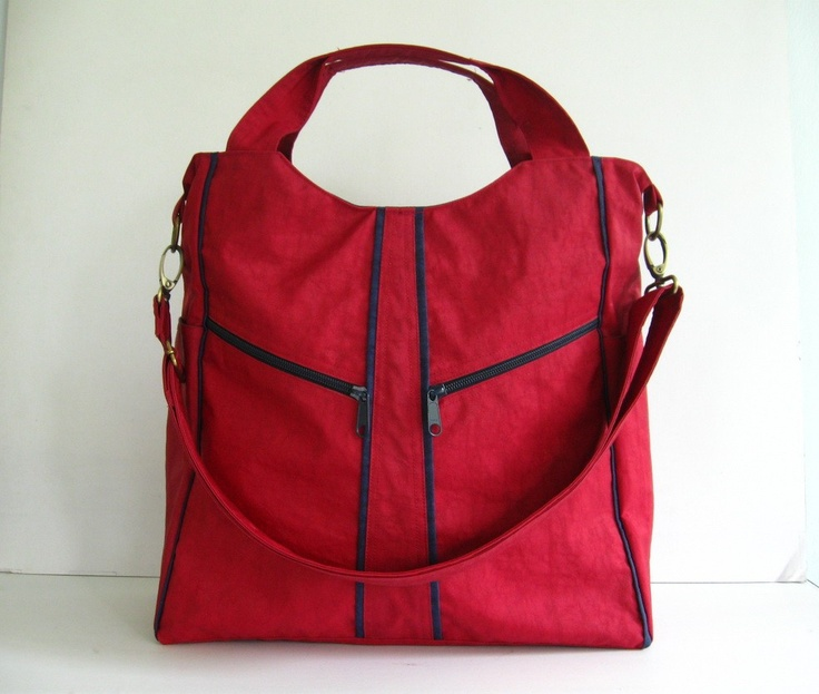 Water-Resistant Nylon in Deep Red- Alison. $42.00, via Etsy.  Just ordered this bag to be my Scotland bag and double as my gym bag this season.  Super cute!