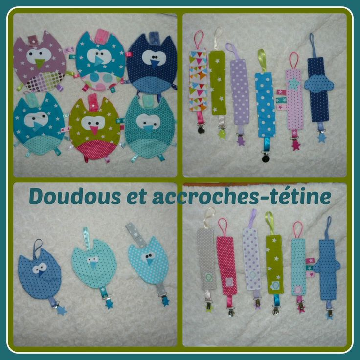 Doudous hibou accroche-tétine, petits hiboux accroche-tétine, et accroches-tétine simples (pince étoile ou imprimée robot, hiboux)