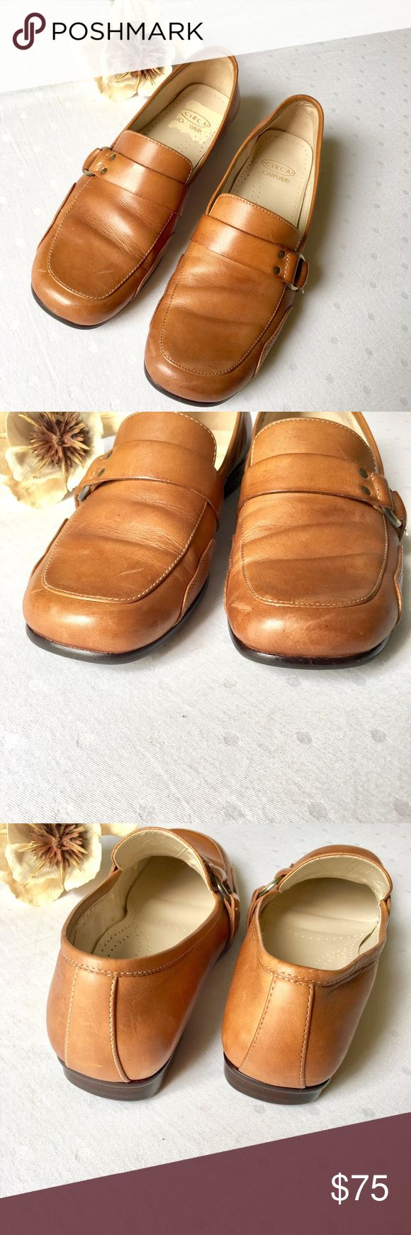 Circa Joan & David Leather Penny Loafers Size 6.5M Circa Joan & David Leather Penny Loafers Size 6.5M. Beautiful rich camel color leather. Great condition--just some normal wear / scuffs on the leather as shown in the pics. Leather uppers AND leather soles! Cushioned soles for max comfort! Rubber outer soles have tred! The square spot on the inside of the sole is where the tag was removed from the foam (not sticky though). Joan & David Shoes Flats & Loafers