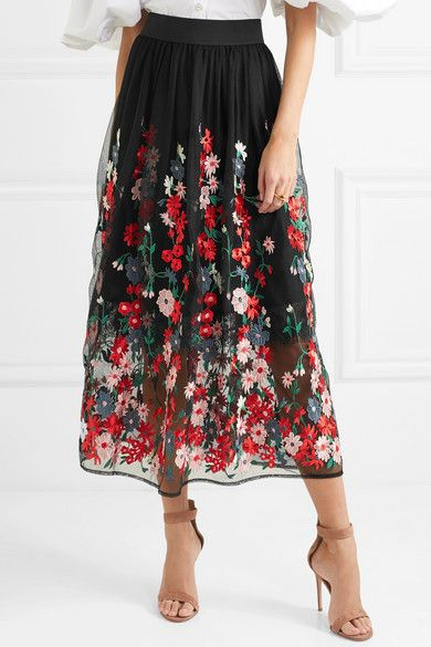 c6e5ce7f66 Maje - Jamie embroidered tulle midi skirt | fashion | Midi skirt ...