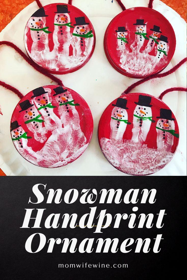 Snowman Handprint Ornament Snowman Handprint Ornament Handprint Ornaments Diy Snowman