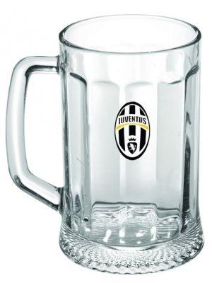 Kufel dla kibiców Starej Damy. Wykonany z bezbarwnego szkła półlitrowy kufel opatrzono logiem legendarnego Juventusu Turyn. Kubki dostarczane są w opakowaniu w barwach klubowych.