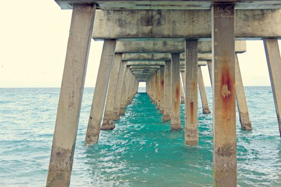 "Large Beach Wall Art - Ocean Photography - Turquoise Sea Under the Juno Pier - Beach Home Decor - Large 12"" x 18"" Poster Print $40.00"