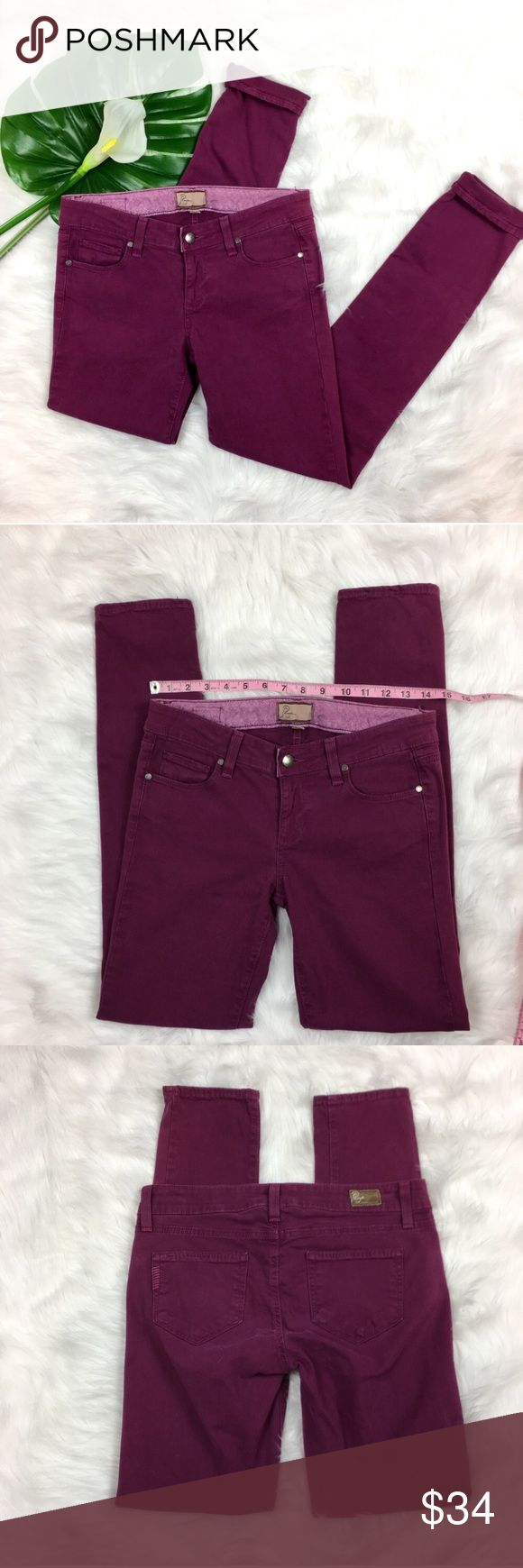Paige Jean Peg Skinny in Wine Purple Paige Jean Peg Skinny in Wine Purple. Size 26 with 29' inseam and 7 1/2' rise. Pre-owned condition with some wash fading. Can be noticed more around pockets and zipper. Has a few spots coming undone on seam along waist and hem but they are not running or easy to rip open more. Does not affect wear. Or can be seen.   ❌I do not Trade 🙅🏻 Or model💲 Posh Transactions ONLY PAIGE Jeans Skinny