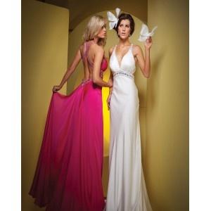 Robe de bal,Col en v plongeant,bretelles croisée au dos,taille haute et ceinture,dos nu,jupe longue en 2 couleurs,robe de bal faite en satin élastique.