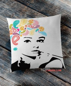 Audrey Hepburn Paisley pillow case, Custom Pillow case, Square Rectangle pillows case