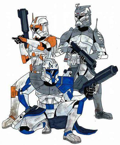 Commander Cody (Orange) Captain Rex (Blue) Commander Wolffe (Gray/Grey)